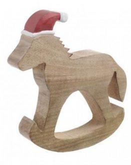Ξύλινο Χριστουγεννιάτικο Αλογάκι Inart 2-70-930-0005