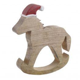 Ξύλινο Χριστουγεννιάτικο Αλογάκι Inart 2-70-930-0006