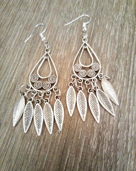 Σκουλαρίκια Φτερά Ασημί